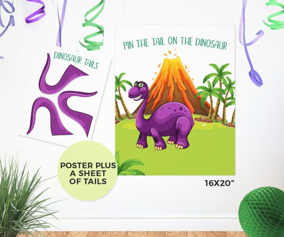 Pin The Tail On The Dinosaur Game PRINTABLE Dinosaur Games