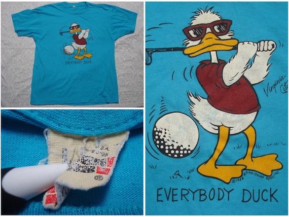Vintage Retro Men's 80's Everybody Duck Tee shirt Blue Tahoe Reno Golf Screen Stars Short Sleeve Large Made in USA qU6w1apkGR