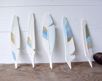 Feathers. Five Ceramic Feathers. Hand-Built. With Color. And Gold. And Holes For DIY Hanging.