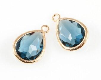2pcs Montana Blue Teardrop Glass Charm in Gold, Framed Drop Glass Gem / Birthstone / September / Sapphire / 11.5mm x 17mm / GMBG-005-P