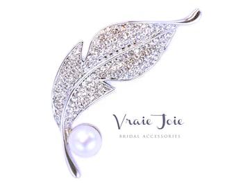 Stylish Brooch, Leaf, Crystal, Pearl, Bridal Jewellery, Bridal Accessory