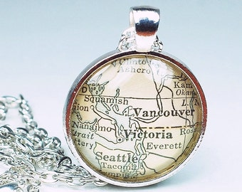 Victoria Map Necklace- Vintage Map Pendant Jewelry 1929 Atlas, Canada Map Necklace, Vancouver British Columbia Pendant, Vancouver Necklace