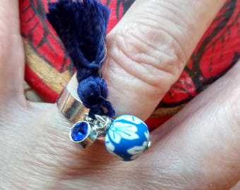 Mother's day gift... Silver and adjustable ring with 10 Navy Blue tassel
