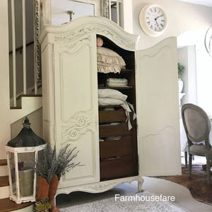 Antique White French Armoire, Chalk Painted, Dressing Room Storage,  Cabinet, Antique Wardrobe