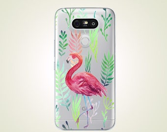 Pink Flamingo Natural Leaves TPU Soft case for LG G2 case G3 case G4 case G5 case G6 case Nexus 5 case Nexus 5X case V10 case V20 case
