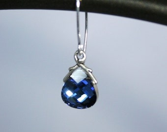 Yumi - Sparkling blue briolette crystal earrings