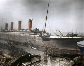 Print of The Titanic - The RMS Titanic near completion at Harland and Wolff shipyards in Belfast, Northern Ireland, in 1911.