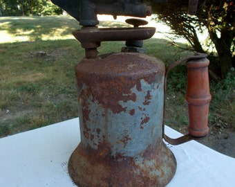 40s Rusty BLOWTORCH for REPURPOSE Red Wooden Handle