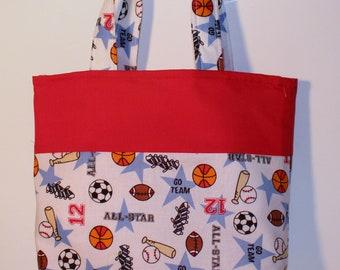 Football, Baseball, Basketball Handmade Purse, Small Tote , Little Girls Purse, Snack Bag, Diaper Bag, Party Favor