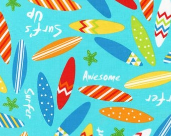 Robert Kaufman fabric SURFBOARDS on Pacific Blue