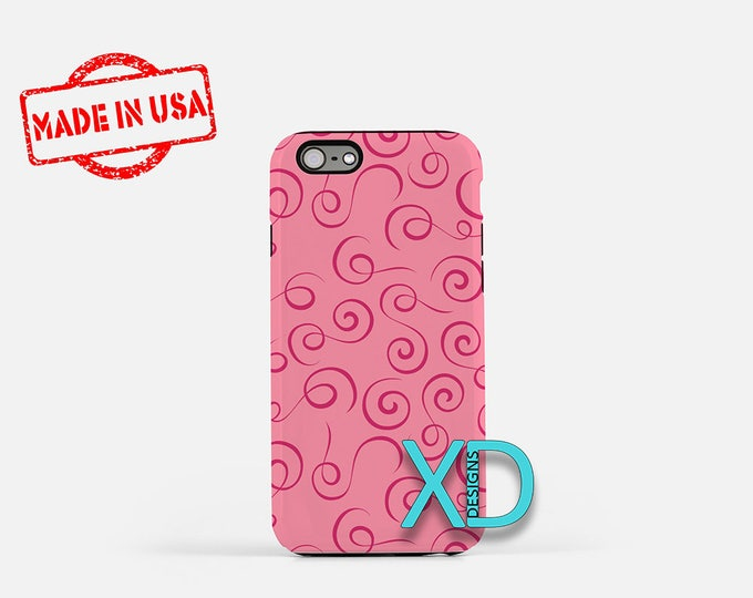 Pink Whispy Design iPhone Case, Pink iPhone Case, Pink iPhone 8 Case, iPhone 6s Case, iPhone 7 Case, Phone Case, iPhone X Case, SE Case