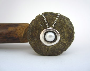 Modern Pearl Necklace - Round Sterling Silver Necklace with Freshwater Pearl and Black Patina