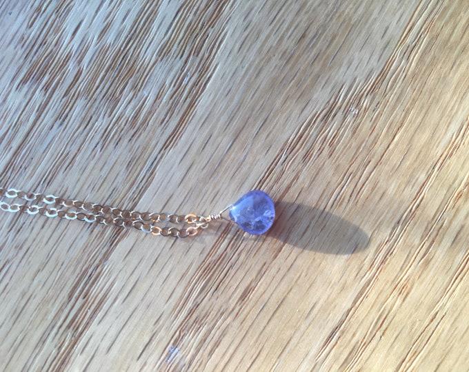 Smooth Periwinkle Purple Tanzanite Rose Gold Healing Chakra
