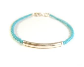 Silver Bar Bracelet, Turquoise Bead Friendship Bracelet, Silver Bar, Seed Beaded Jewelry