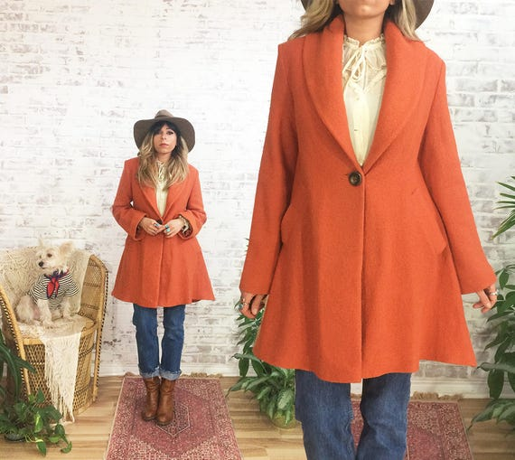 Small 1970's MARMALADE Upholstery Wool Swing Vintage Relaxed Orange Coat Size wAqEwz