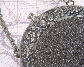 Antique Victorian Steel cut beaded Chatelaine  purse