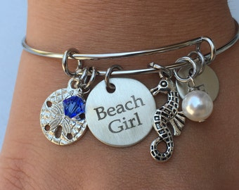 Beach Girl Bracelet, Summer jewelry, Vacation Jewelry, Gift for her, Gift for Mom, Mom gift, Initial bangle, Daughter Gift, Grandma Gift
