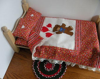 """Barbie Wooden Bedroom Set Animal Theme With Rug Plus  Free Bedroom Slippers For 12"""" Doll"""
