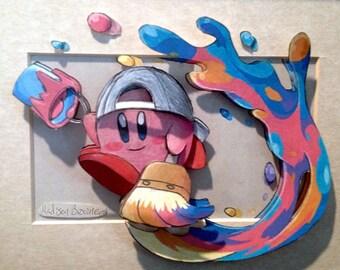 3D Paper-Cut Video Game Art;  Kirby