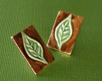 Green Leaf Earrings Handmade Porcelain Ceramic Jewelry