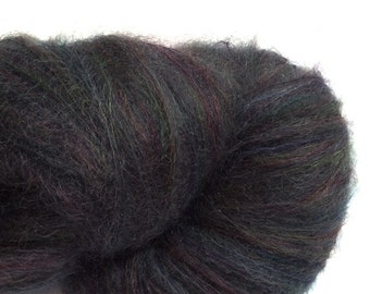 Hand-painted OOAK luxury laceweight mohair-blend yarn in Black Opal, October birthstone, over 900 yds.