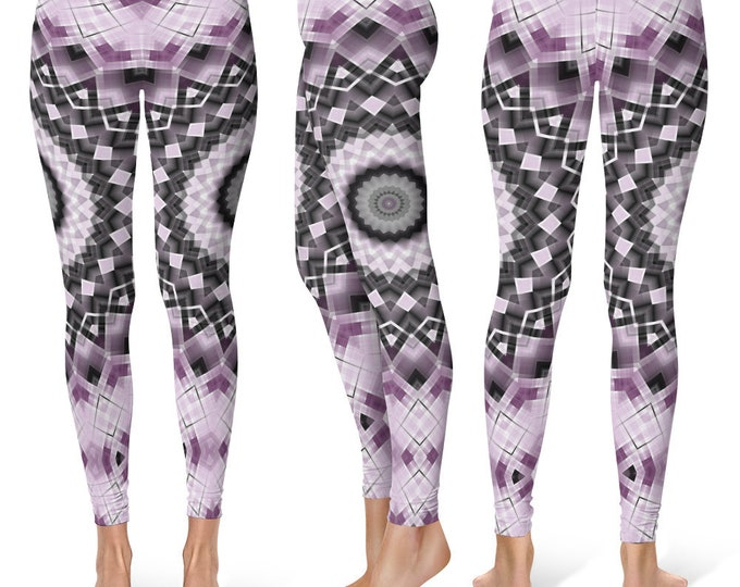 Trippy Leggings Yoga Pants, Funky Mandala Printed Yoga Tights for Women, Festival Clothing, Club Wear