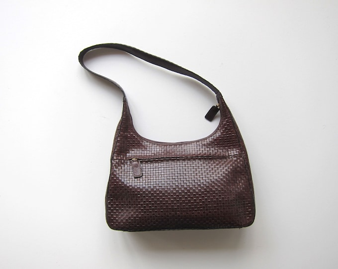 Woven Leather Purse 90s Brown Shoulder Bag Vintage Talbots Braided Leather Purse Leather Weave Bag Modern Womens