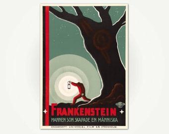 Frankenstein Poster Print - Vintage Movie Poster from Sweden - 1930's Movie Poster Art