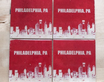 Philadelphia Skyline Coaster Set with City Name (4 Stone Coasters, Red and White) Philly Cityscape Home Decor