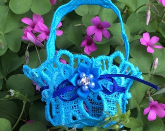 Embroidered Lace Tiny Easter Basket Turquoise Blue