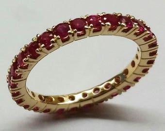 R122 Genuine 9K, 10K, 14K, 18K SOLID Yellow Rose or White Gold NATURAL Ruby Full Eternity Ring Wedding Anniversary