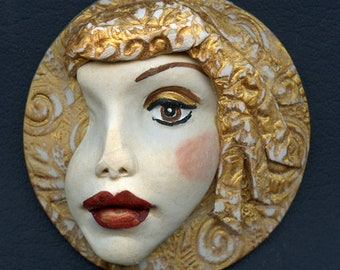 Large Detailed Face Polymer Clay  3 Inch Medallion DLAM 1