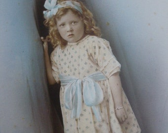 Antique studio photograph - vintage color photo 1920s 1930s portrait of little Welsh girl in pretty dress 20s 30s hand tinted colour costume