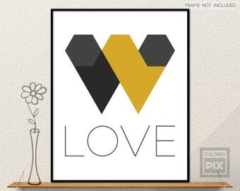 Black and Yellow Wall Art, Love Art  Print, Modern Wall Decor, Abstract Art, Geometric Wall Art, Wall Print, Mustard Yellow, Hearts Wall Art