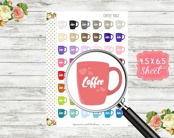 Coffee Cup Planner Stickers - Coffee Cup Stickers - Coffee Stickers - Planner Stickers - Drink Stickers - Erin Condren, Happy Planner - H123