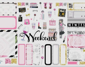 Pink Chanel Style Mini Planner Sticker Kit for use with Erin Condren Vertical Planners