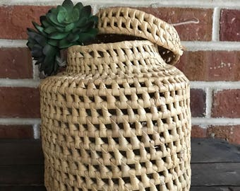 Woven basket with lid and handle, planter or storage basket, hanging planter basket, boho, jungalow decor