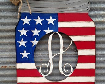 Flag Mason Jar Door Hanger