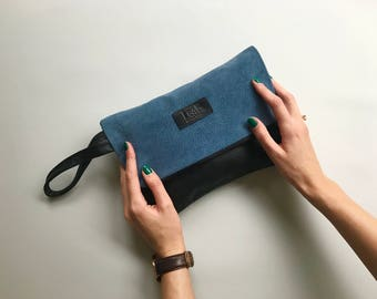 Deep blue leather clutch | Leather clutch bag | Recycled leather bag | Exclusive leather pouch | Oversized clutch bag