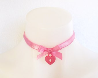Heart Breaker Choker/ Pink or White/ Adjustable
