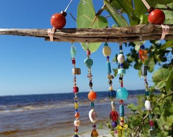 Beaded Sun Catcher / Coastal / Driftwood / Window Jewelry / Home Decor