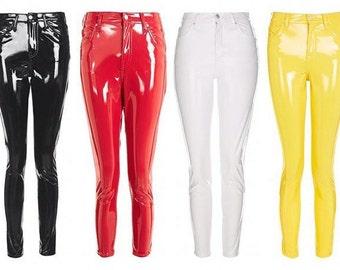 PVC Vinyl Leather Latex Pants Leggings - Black, Red, Pink, Blue, White etc - Any size