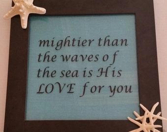 Beautiful coastal inspirational framed art with starfish