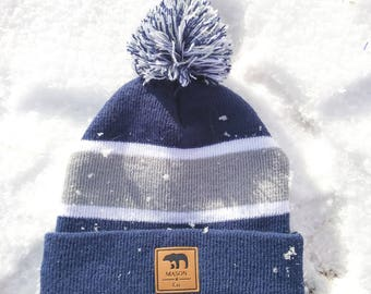 Baby Navy Blue and Gray Beanie