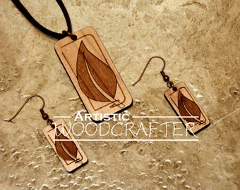 Wooden Leaf Necklace and Earring set (Cherry)