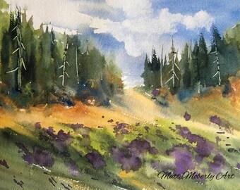 Original Watercolor Summer Field Scene