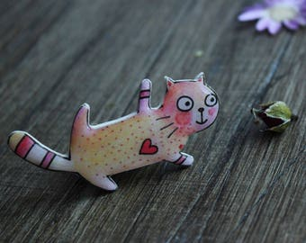 gift|for|her gift|for|girlfriend gift|for|daughter gift Cute animal lover gift cat pin cat jewelry cat lover gifts pet lover pink jewelry