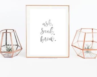 Ask Seek Know, Printable Wall Art, Wall Art, Christian Art, Watercolor print, Christian Gift, Scripture, Ask Seek Know Mockup, Prints