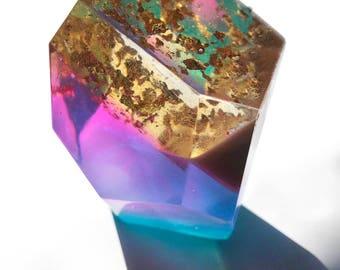 golden pink blue crystal