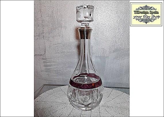 Licorera de cristal, Botella licorera tallada, Licorera Bohemia, Botella licorera plata, Botella licorera vintage, Botella licorera tallada